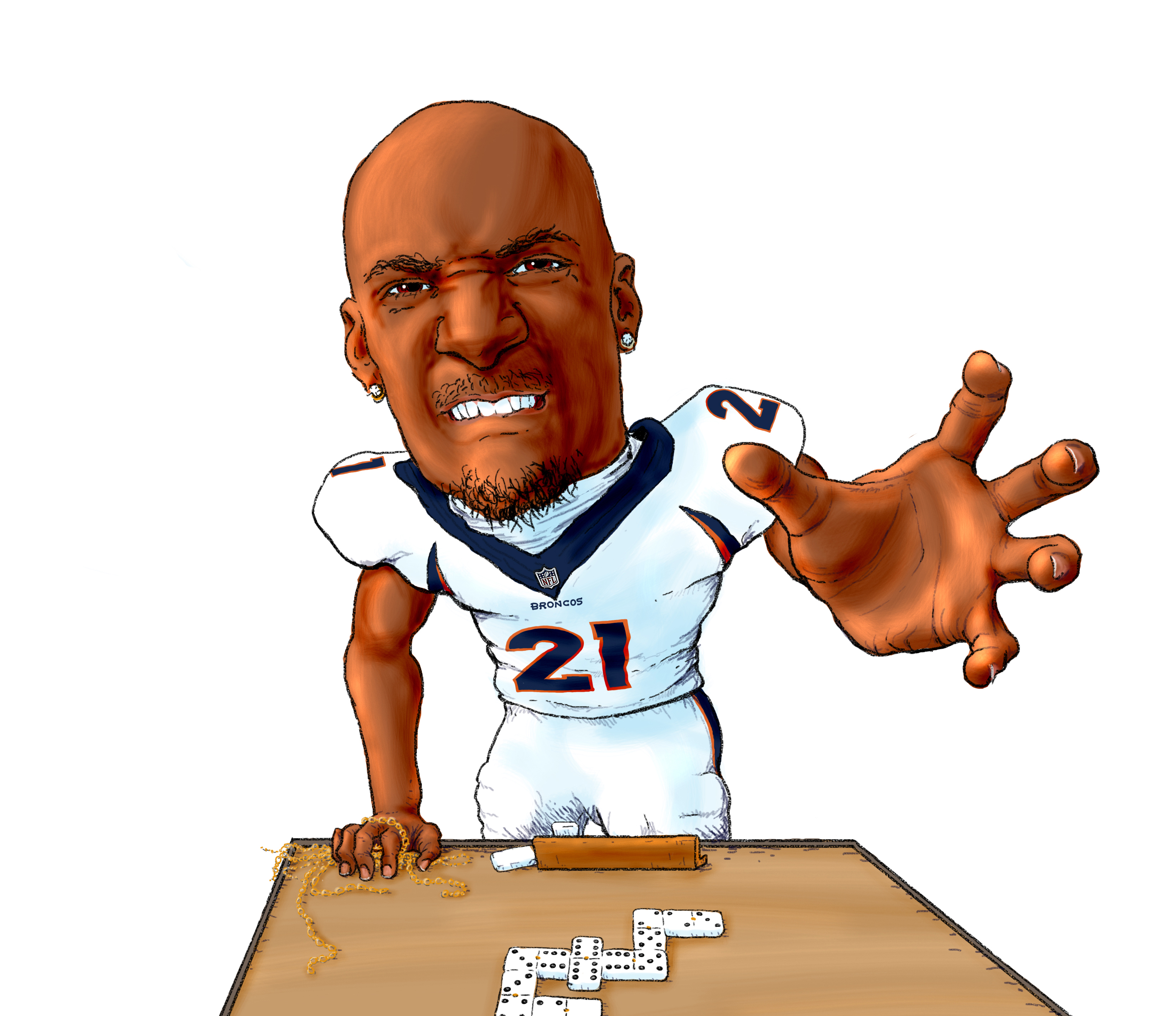 Highlighting Denver Bronco Aqib Talib and his penchant for snatching gold chains from opposing wide receivers. During his suspension in 2017 due to a chain snatch and the resulting fistfight, his coach was asked what Aqib was busy doing. To which he said, probably playing dominoes in the locker room. It doesn't take much to imagine what a game like that might look like...