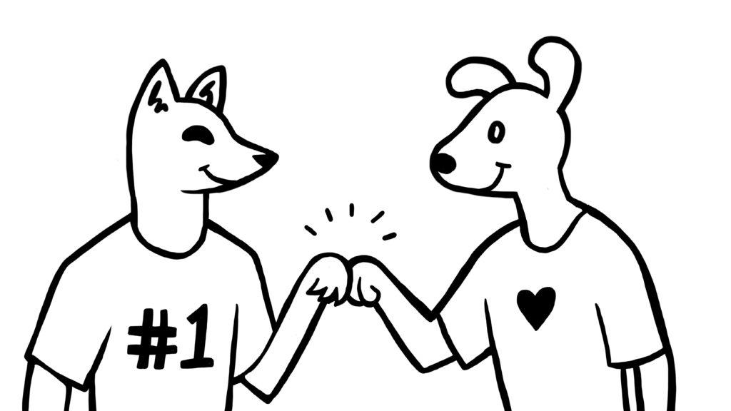 Dog Fist Bump Cartoon Illustration