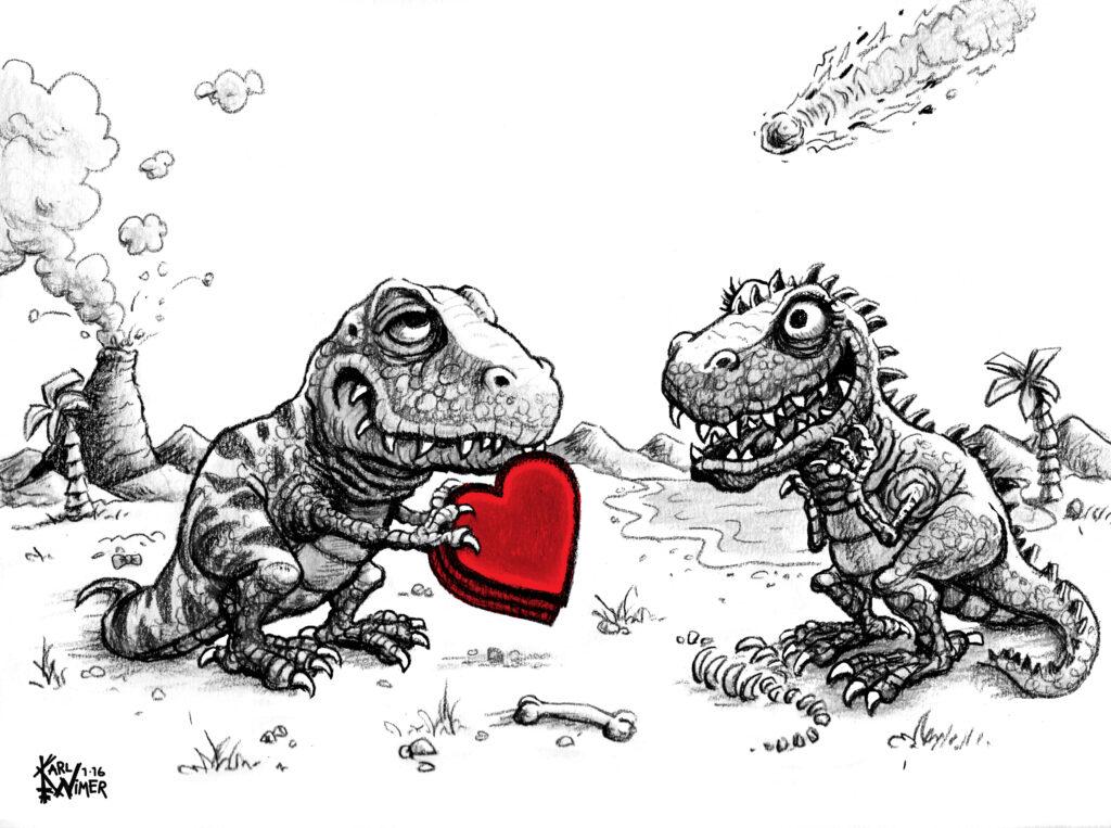 Dinosaurs in Love Valentines Day Cartoon Illustration
