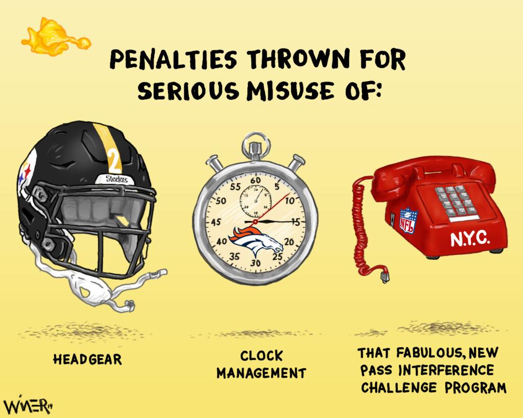 Cartoon illustration regarding NFL