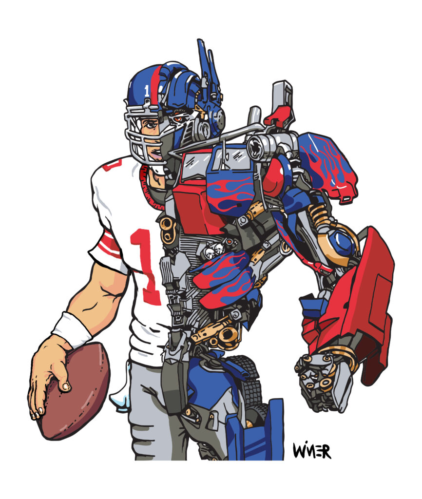 An illustration mashup of New York QB extraordinaire Eli Manning and Transformer Optimus Prime. Fun for any fan of the robot franchise and one of the top quarterbacks in a long history of the NY football Giants.