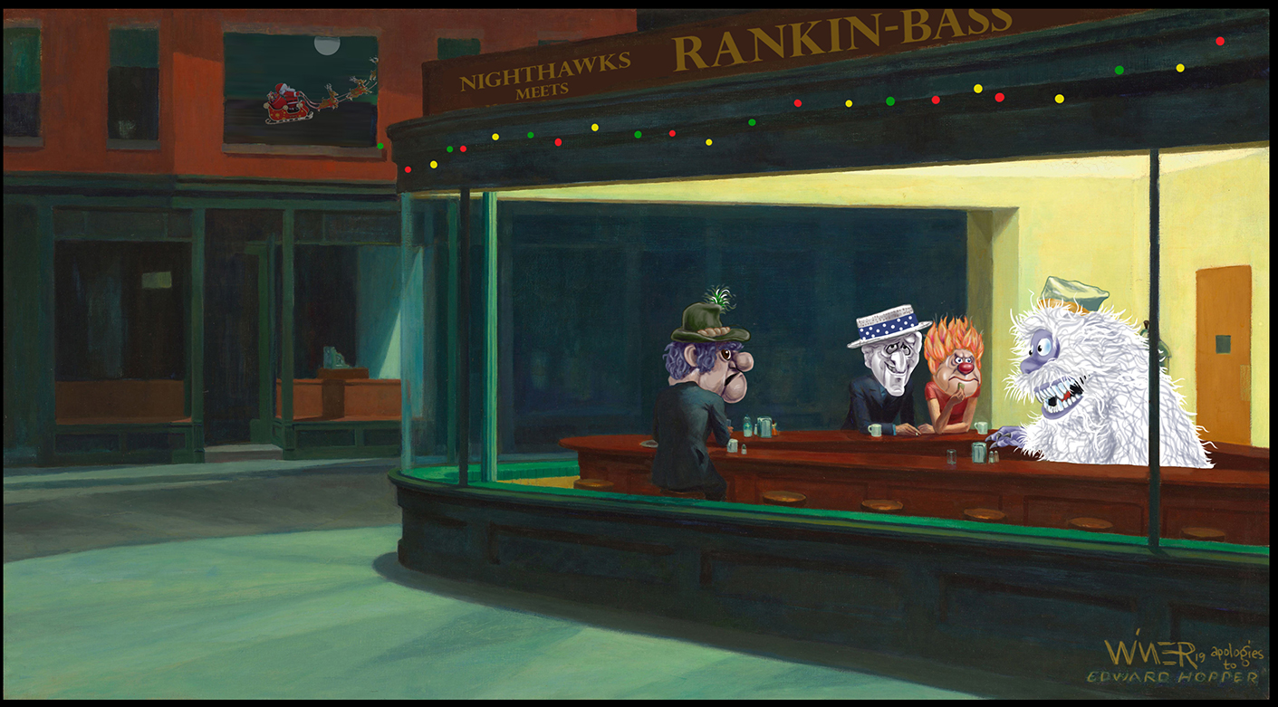 Rankin Bass animated Christmas characters hanging out in the Nighthawks cafe created by Edward Hopper, while Santa can be seen reflected in a window. A timeless, subtle Christmas card.