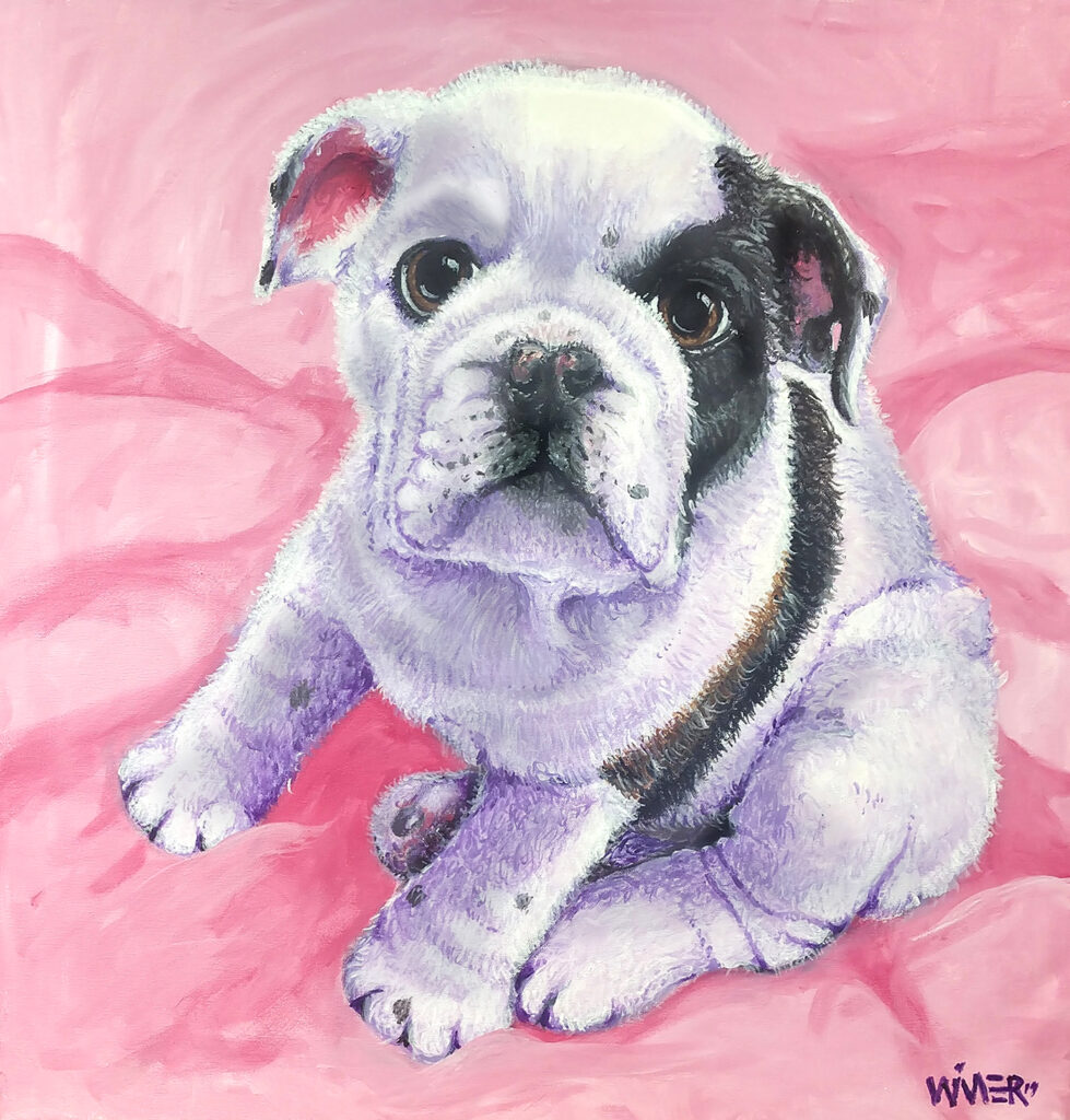 Nala Bulldog painting is an acrylic work on canvas of a puppy, commissioned for creation, with a high level of detail, brushstroke and color.