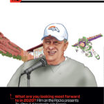 Denver Broncos Coach Fangio Hosting Toy Story on the Rocks Cartoon Illustration