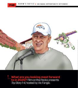 Denver Broncos Coach Fangio Hosting Toy Story on the Rocks Cartoon Illustration