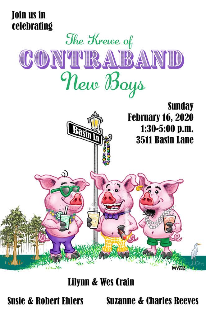Mardi Gras Three Little Pig Party Invite Catrtoon Illustration