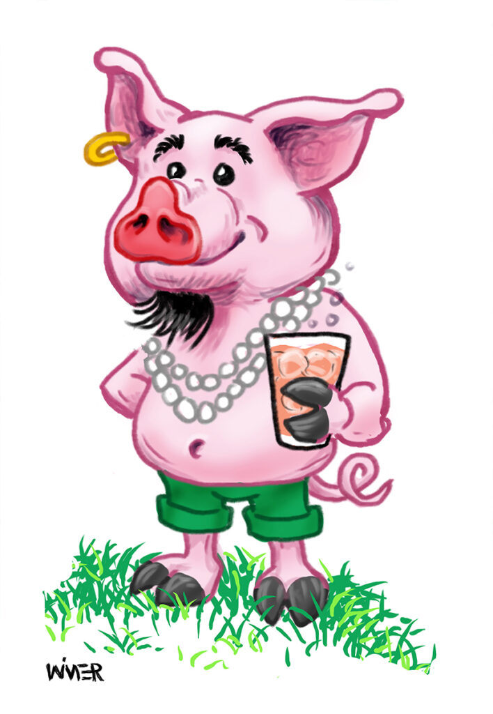 Mardi Gras Pink Pig for Party Invite