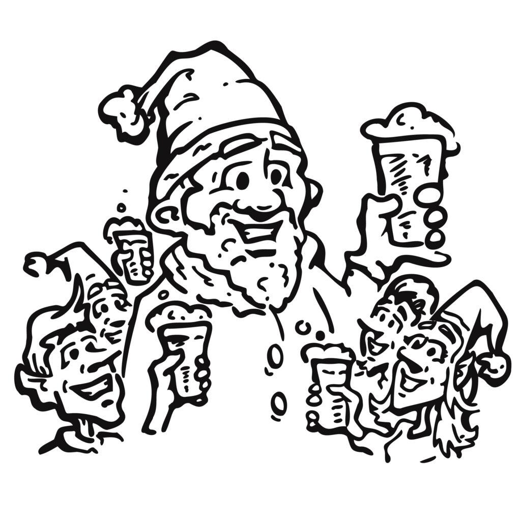 Santa Enjoying A Frosty Beer with his Elves Cartoon Illustration