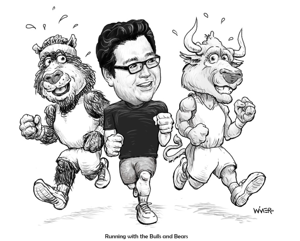 Tom Lee Runs With Bulla and Bears stockmarket cartoon illustration