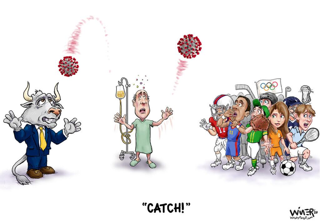 Coronavirus Catch for Wall Street and Sports Cartoon Illustration