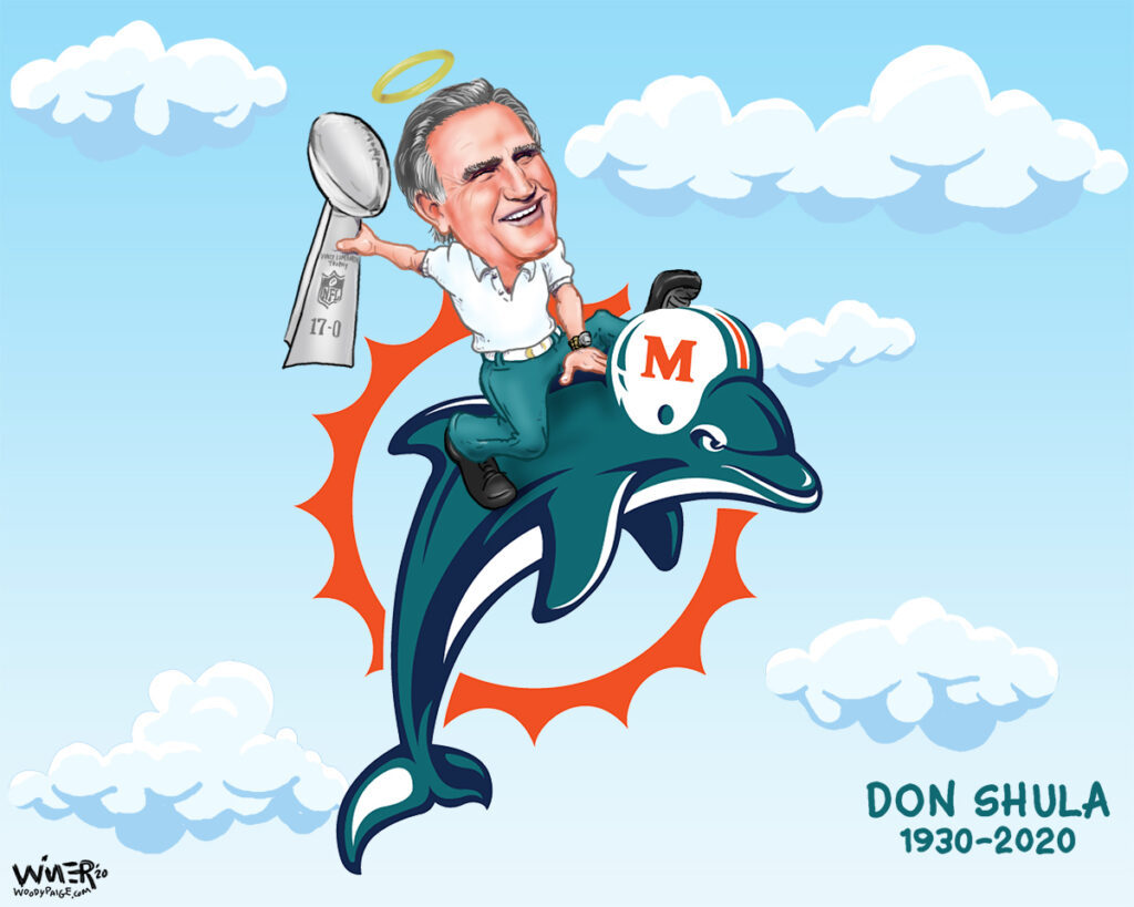 Sports cartoon illustration legendary coach rides off into the great beyond on a dolphin. Don Shula just left us to start a totally different season. The winningest coach in NFL history, and the owner of the only undefeated season, he did it with a ton of class.