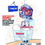 Goalie Wrong Mask for Shopping Covid Sports Cartoon Illustration