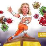 Hijacked Heisman Hopes of Trevor Lawrence by Covid Cartoon Illustration