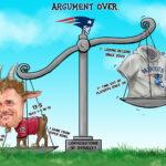 Tom Brady vs Bill Belichick Sports Cartoon Illustration