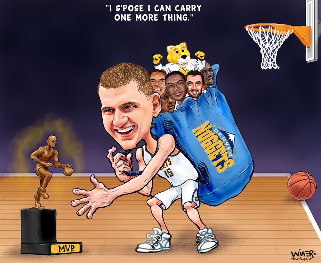 Nikola Jokic carries one more thing - the MVP trophy.