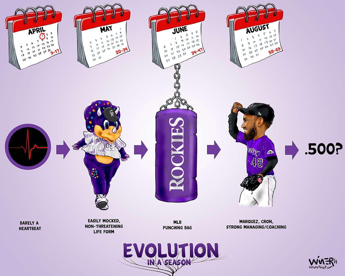 The Colorado Rockies were as bad as a team can get to start the season, but it seems that they've evolved into something passing for OK over the course of a season.
